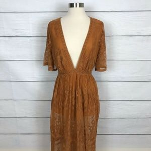 Haute Monde Low Neckline Rust Lace Dress XL
